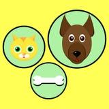 Grande conception pour le chien et le chat et les os délicieux illustration libre de droits