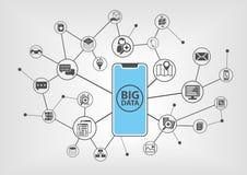 Grande concetto di dati con testo visualizzato liberamente sullo schermo attivabile al tatto frameless dello smartphone moderno d Immagini Stock