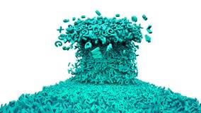 Grande concetto di dati Strada verde enorme delle onde dei caratteri illustrazione 3D royalty illustrazione gratis