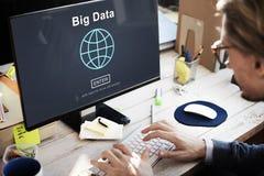 Grande concetto di tecnologia di rete del sistema di memorizzazione dei dati di dati Fotografie Stock