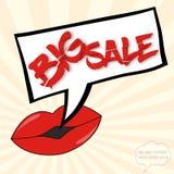 Grande concetto di vendita con le labbra Fotografia Stock Libera da Diritti