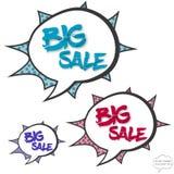 Grande concetto di vendita nelle bolle dei fumetti Immagini Stock