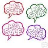 Grande concetto di vendita nelle bolle dei fumetti Immagine Stock