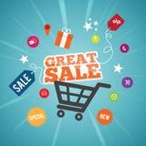 Grande concetto online di vendita Fotografia Stock