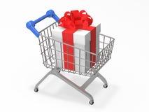 Grande contenitore di regalo nella rappresentazione del carretto 3d del negozio fotografia stock libera da diritti
