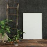 Grande cornice o tela bianca in bianco illustrazione di stock