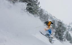 Grande corsa con gli sci della montagna Fotografia Stock Libera da Diritti