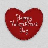 Grande costurado acima do coração do ` s do Valentim feito do feltro Imagens de Stock Royalty Free