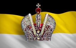 Grande couronne impériale au-dessus de drapeau de l'empire russe illustration stock