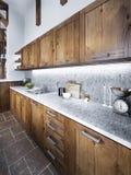 Grande cozinha bonita em um estilo rústico Foto de Stock