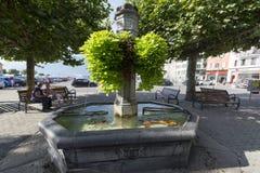 Grande cuadrado del lugar, Vevey, Suiza Fotos de archivo