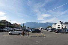 Grande cuadrado del lugar, Vevey, Suiza Fotos de archivo libres de regalías
