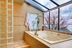 Grande cuba de banho com a parede do indicador com opinião da água. Foto de Stock