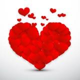 Grande cuore rosso fatto dai piccoli cuori di vettore di volo Immagine Stock Libera da Diritti
