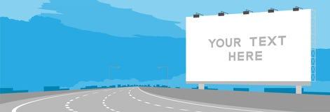 Grande curvatura della strada principale o dell'autostrada del contrassegno del tabellone per le affissioni della pubblicità nell illustrazione vettoriale