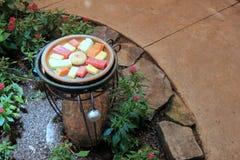 Grande cuvette dans le cadre en métal tenant des tranches de fruit frais pour attirer des papillons Photo libre de droits