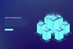 Grande data, concetto di elaborazione dei dati Centro dati, base di dati della nuvola, ospitante illustrazione vettoriale