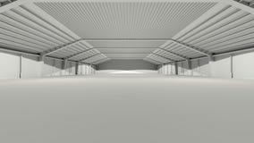 Grande deposito grigio del magazzino del corridoio di gray 3D Fotografie Stock