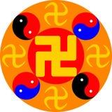Grande Dharma Wheel Illustrazione di vettore Fotografie Stock Libere da Diritti