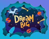 Grande di sogno Cartolina d'auguri di stile del fumetto con gli astronauti, pianeti, royalty illustrazione gratis