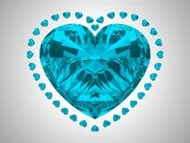 Grande diamante azul do corte do coração Imagens de Stock Royalty Free
