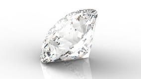 Grande diamante claro com reflexão no fundo branco 3d Fotos de Stock Royalty Free