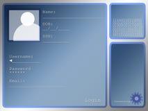 Grande disposição de tela azul do início de uma sessão com caixa do retrato ilustração stock