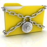 Grande dispositivo di piegatura giallo con una serratura di combinazione Immagini Stock