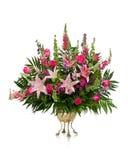 Grande disposizione dei fiori in un vaso d'ottone fotografia stock