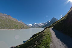 The Grande Dixence. The worlds highest gravity dam (285 meter high), collects the meltwater of 35 Valaisian glaciers in the region surrounding Zermatt and Stock Image