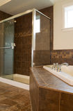 Grande douche dans la pièce de Bath principal photographie stock