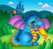 Grande drago blu del fuoco con il vecchio castello Fotografia Stock Libera da Diritti