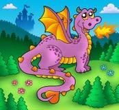 Grande drago viola con il vecchio castello Fotografia Stock Libera da Diritti