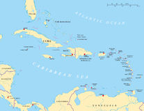 Grande e Lesser Antilles Political Map Foto de Stock