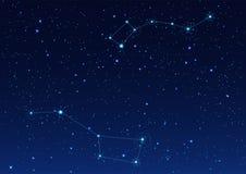 Grande e piccola costellazione di Dipper Stella polare cielo stellato di notte illustrazione vettoriale