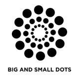 Grande e piccolo vettore dell'icona dei punti isolato su fondo bianco, ceppo illustrazione di stock