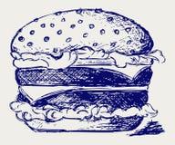 Grande ed hamburger saporito illustrazione di stock