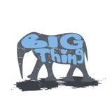 Grande elefante che cammina con l'iscrizione illustrazione di stock
