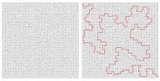 Grande enigma del labirinto e labirinto che risolvono schema Fotografia Stock Libera da Diritti