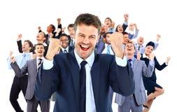 Grande equipe do negócio que comemora o sucesso Fotos de Stock