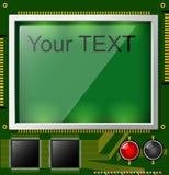 Grande esposizione LCD con spazio per testo e la lampadina Un circuito stampato del quadrato è verde Componenti elettronici illustrazione vettoriale