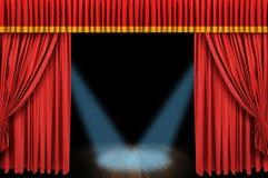 Grande estágio vermelho da cortina Fotografia de Stock Royalty Free