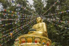 Grande estátua dourada de uma Buda assentada contra o contexto de uma floresta verde com as bandeiras tibetanas da oração fotografia de stock royalty free