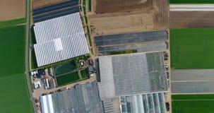 Grande estufa moderna, um grande complexo agrícola, voando sobre uma estufa cercada por campos verdes vídeos de arquivo