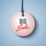 Grande etichetta del nero di vendita, insegna rotonda, annunciante Immagini Stock