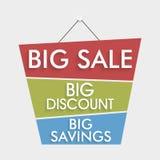 Grande etichetta di offerta di sconto e di risparmio di vendita, autoadesivo ed etichetta Fotografia Stock