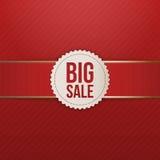 Grande etichetta di vendita di Natale realistico con il nastro rosso Fotografia Stock Libera da Diritti