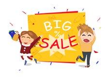 Grande evento di vendita, centro commerciale, conclusione della stagione, regalo e celebrati illustrazione vettoriale