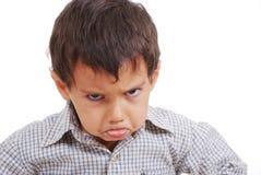 Grande expressão do miúdo muito muito irritado Fotos de Stock Royalty Free