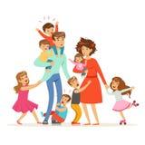 Grande família com muitas crianças As crianças, os bebês e seus pais cansados vector a ilustração ilustração stock